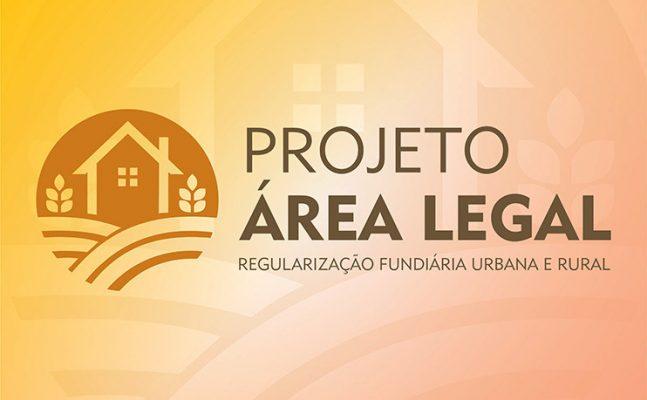 Ilustração da logo do Projeto área legal. Um círculo com uma casa dentro e ao lado escrito projeto área legal