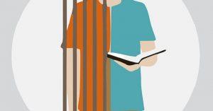 Projeto começar de Novo - ilustração de uma criança dividida entre uma grade e o outro lado sua mão segurando um livro